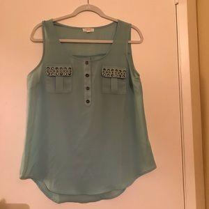 Stud embellished sleeveless blouse